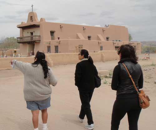 Exploring the San Ildefonso Pueblo at a recent workshop.
